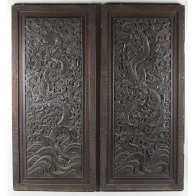 matched-pair-of-antique-asian-carved-wooden-doors