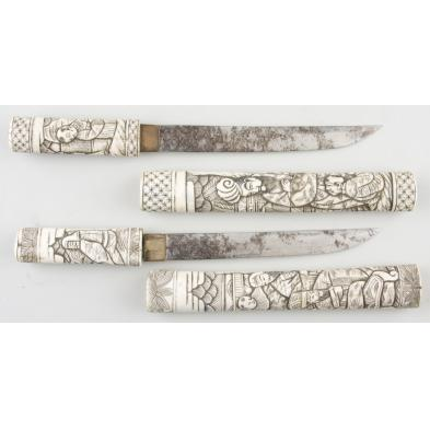 pair-of-japanese-daggers-with-ivory-grip-sheaths