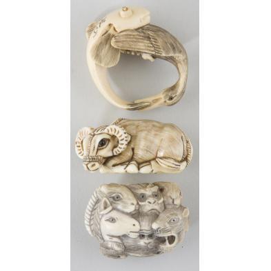 three-ivory-netsukes-animal-forms