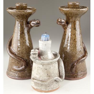 group-of-north-carolina-folk-pottery-candlesticks