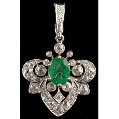 art-deco-emerald-and-diamond-platinum-pendant