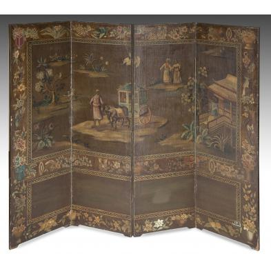 antique-continental-painted-four-panel-screen