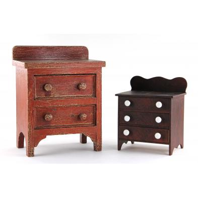 two-american-miniature-chests-of-drawers