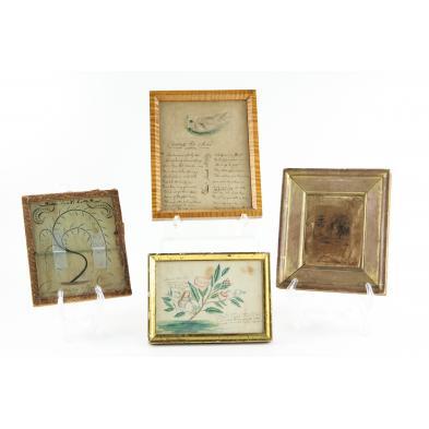 four-antique-framed-documents