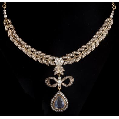 sapphire-and-diamond-bow-necklace