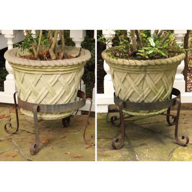 pair-of-cast-stone-planters