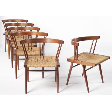 six-george-nakashima-grass-seat-chairs