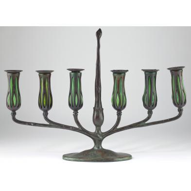 tiffany-blown-glass-and-bronze-candelabrum