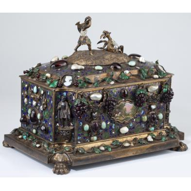 important-french-parcel-gilt-gem-set-jewel-casket