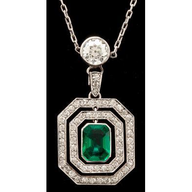 platinum-emerald-and-diamond-pendant-necklace