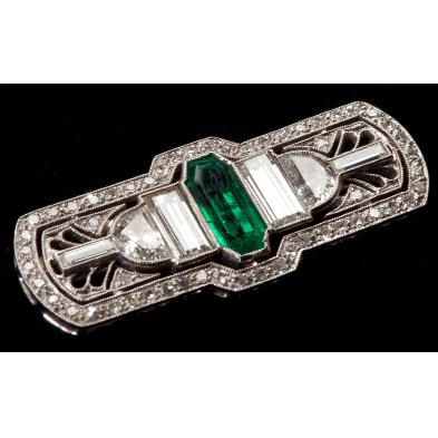 art-deco-platinum-and-emerald-and-diamond-brooch