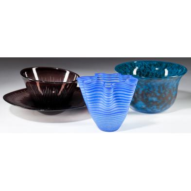 three-kosta-boda-art-glass-bowls