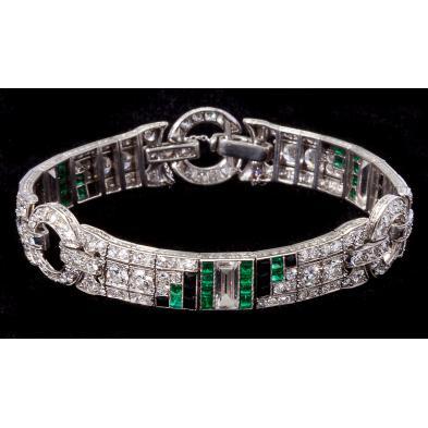 art-deco-diamond-emerald-and-onyx-bracelet