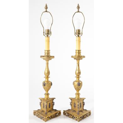 pair-of-brass-italian-candlestick-lamps
