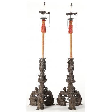 pair-of-italian-renaissance-bronze-floor-lamps