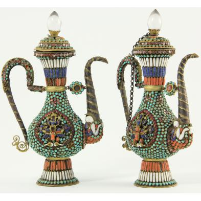 pair-of-nepalese-jeweled-ewers