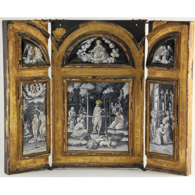 important-limoges-triptych-panel