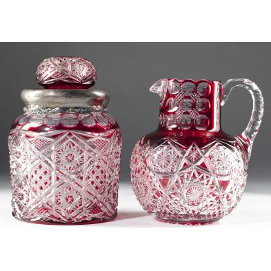 two-abp-colored-cut-glass-items