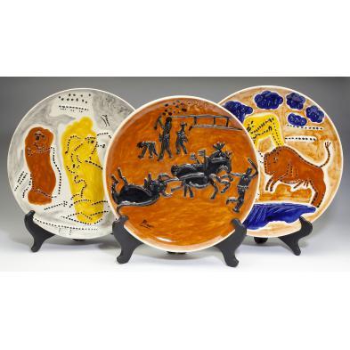 three-ceramic-matador-plates-after-pablo-picasso