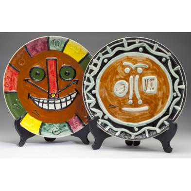two-ceramic-face-plates-after-pablo-picasso