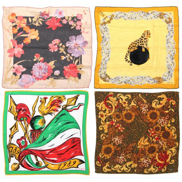 group-of-four-silk-french-designer-scarves