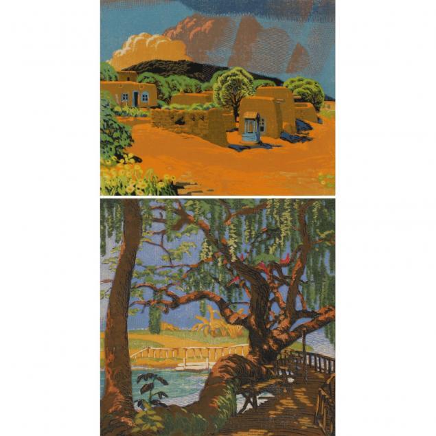 gustave-baumann-1881-1971-two-woodblock-prints