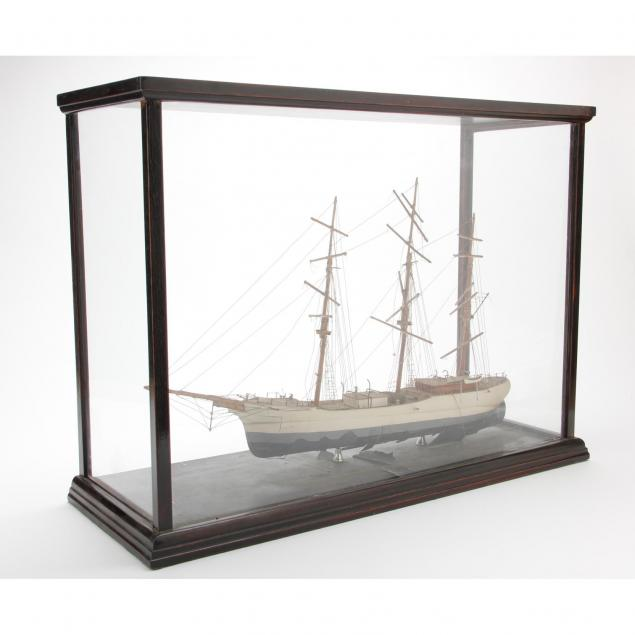 vintage-painted-ship-model-in-case