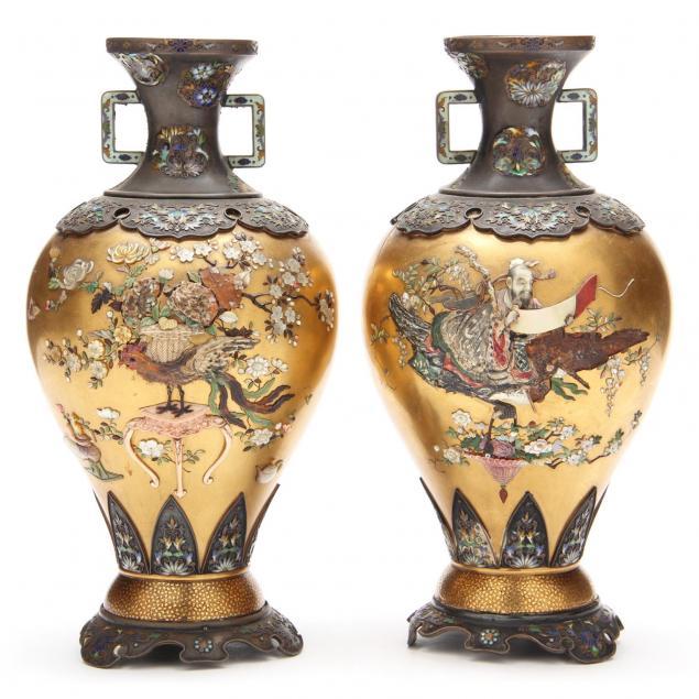 pair-of-japanese-shibayama-silver-gold-lacquer-vases