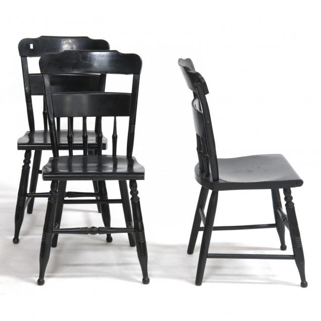 three-painted-early-american-plank-seat-chairs
