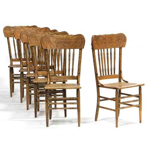 set-of-six-oak-press-back-dining-chairs
