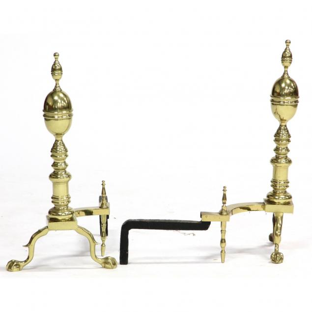 pair-of-lemon-finial-brass-andirons