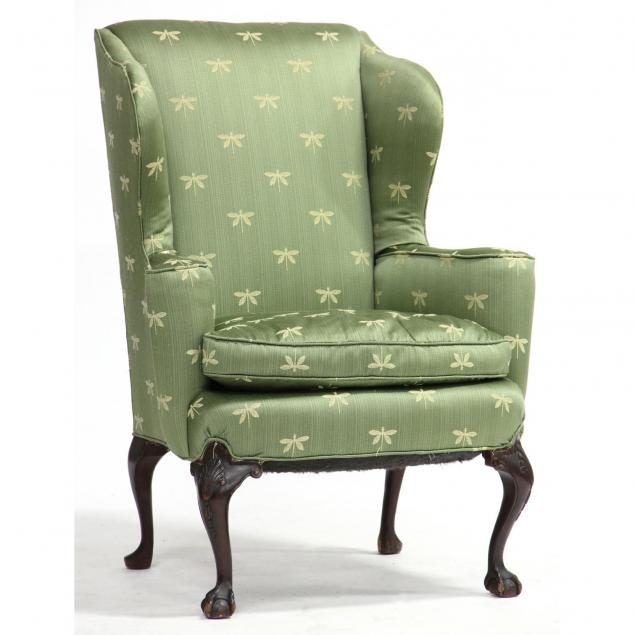 chippendale-style-upholstered-wing-back-chair