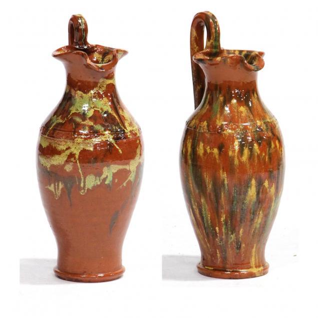 pair-of-joe-owen-multi-glaze-rebecca-pitchers