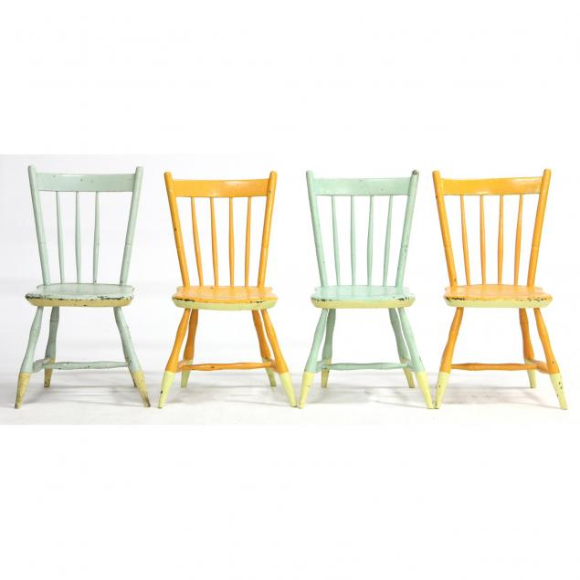 four-painted-plank-seat-chairs