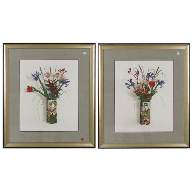 pair-of-artist-signed-numbered-japanese-ikebana-lithographs