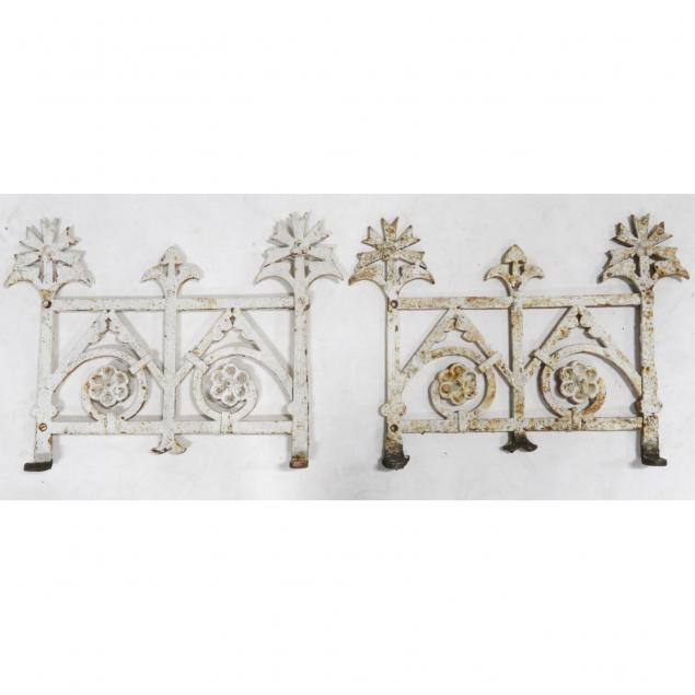 pair-of-small-antique-iron-garden-fence-sections
