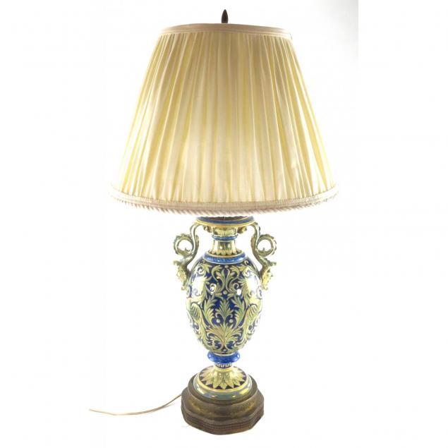 italian-faience-glazed-table-lamp