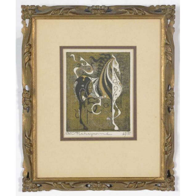 artist-signed-numbered-japanese-woodcut-of-a-horse