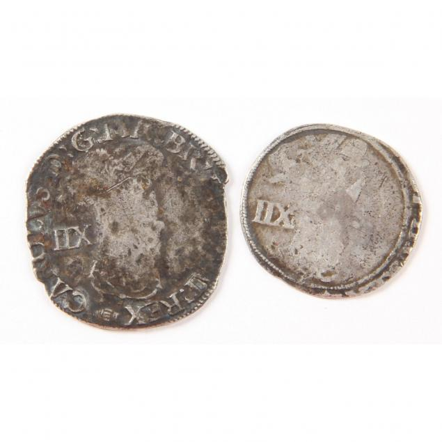 england-charles-i-two-2-hammered-silver-shillings-1625-49