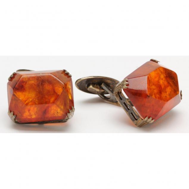 vintage-amber-cufflinks
