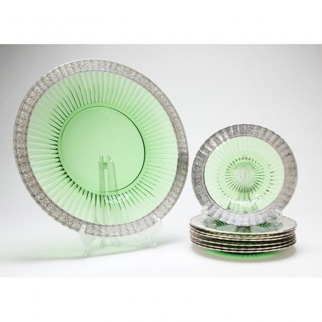 silver-overlay-glass-dessert-set