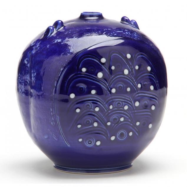 nc-art-pottery-tom-turner-cobalt-vase
