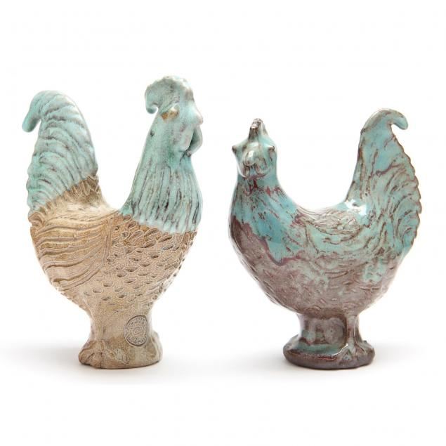 nc-folk-pottery-charles-moore-two-fowl
