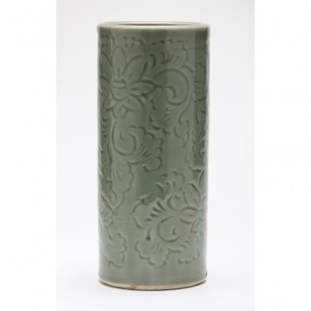 chinese-tall-celadon-glaze-brush-pot