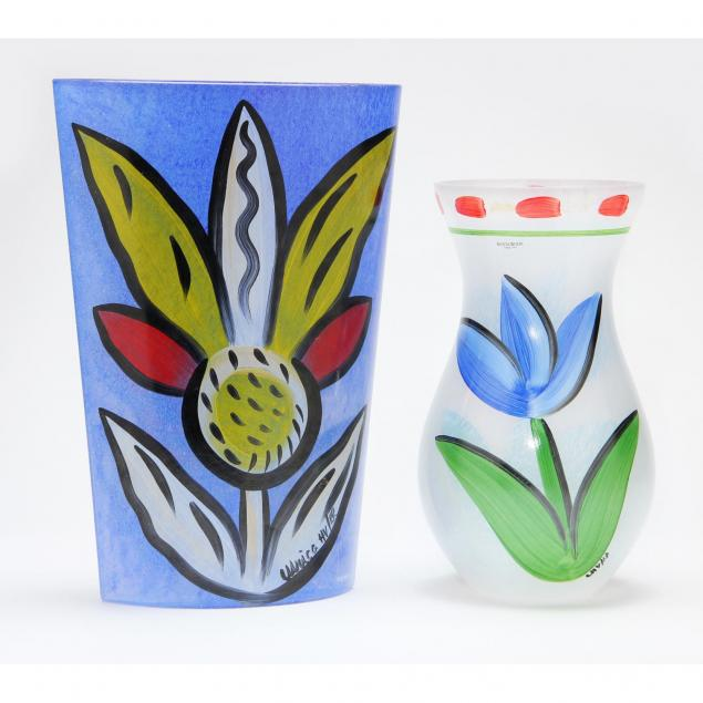 ulrica-hydman-vallien-two-tulipa-glass-vases