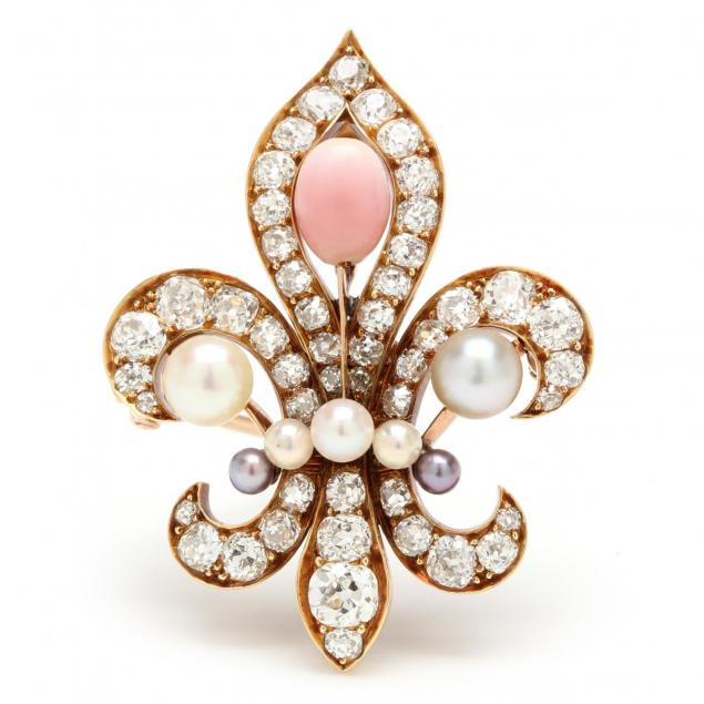 vintage-pearl-diamond-and-coral-brooch-pendant