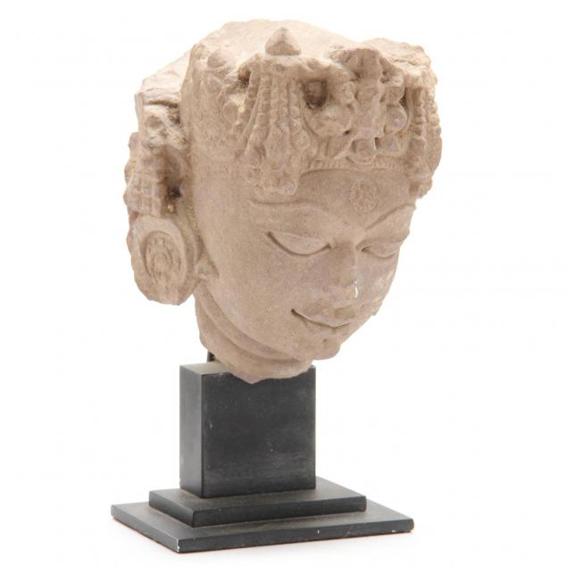 india-rajasthan-red-sandstone-head-of-a-deity