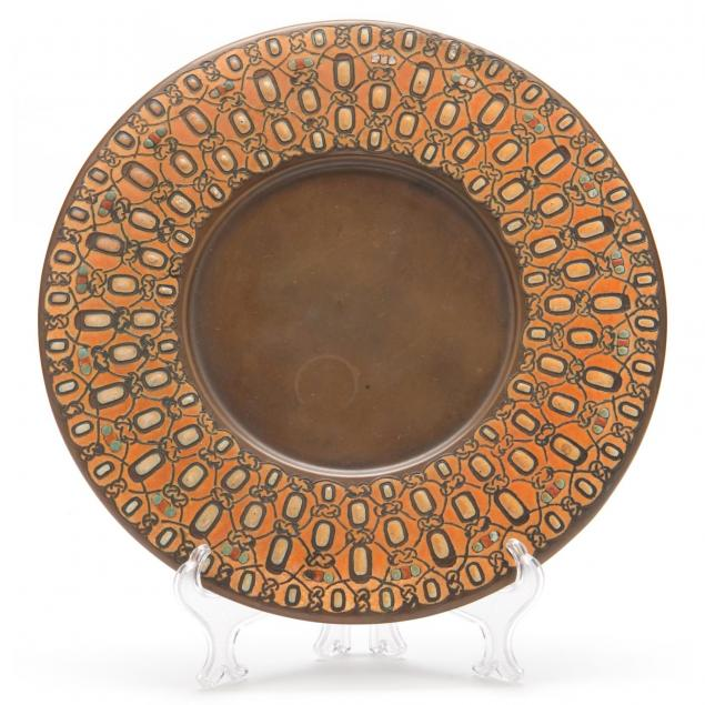 l-c-tiffany-enamel-decorated-bronze-charger