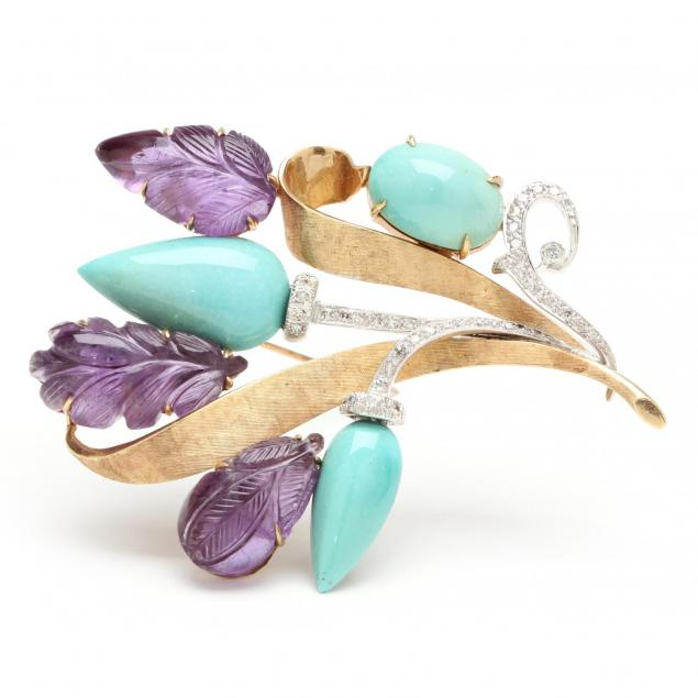 14kt-turquoise-amethyst-and-diamond-brooch