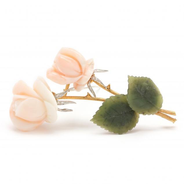 vintage-18kt-coral-jade-and-diamond-brooch